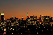 Night view of midtown Manhattan and the Empire State Building from 120 East 87th Street, Penthouse