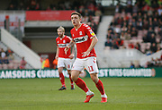 Middlesbrough forward Jordan Hugill (11)  during the EFL Sky Bet Championship match between Middlesbrough and Swansea City at the Riverside Stadium, Middlesbrough, England on 22 September 2018.