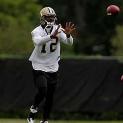 05 June 2009: Saints receiver Marcus Colston (12) participates in drills during the New Orleans Saints Minicamp held at the team's practice facility in Metairie, Louisiana.