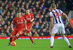 LIVERPOOL, ENGLAND - Sunday, December 13, 2015: Liverpool's Alberto Moreno in action against West Bromwich Albion during the Premier League match at Anfield. (Pic by James Maloney/Propaganda)