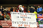 Blackpool Fans protests continue nduring the Sky Bet League 1 match between Wigan Athletic and Blackpool at the DW Stadium, Wigan, England on 12 December 2015. Photo by Pete Burns.