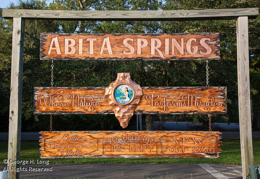 Wood-carved town sign of Abita Springs, Louisiana