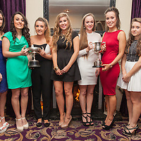 Orlan Devitt, Claire Chedda, Aoife Sheehan, Sophie Hannan, Rebecca Crowe, Elana Bradley and Sarah Redmond, all Éire Óg dual U21A Football and Camogie players recieving their medals on the night