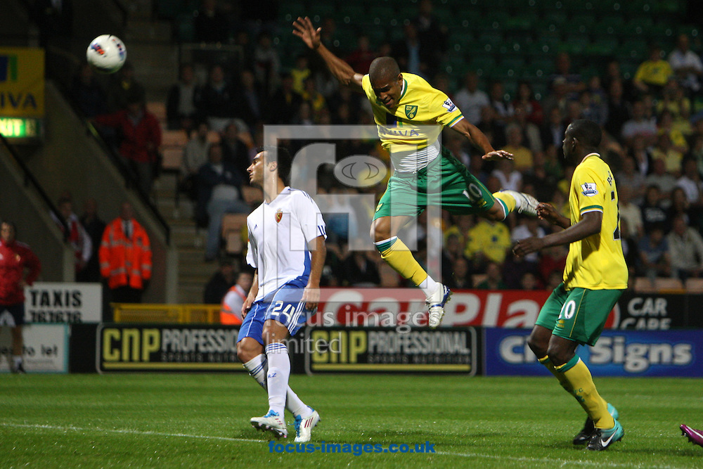 Simeon Jackson of Norwich heads for goal during a pre season friendly at Carrow Road stadium, Norwich...Picture by Paul Chesterton/Focus Images Ltd.  07904 640267.3/8/11