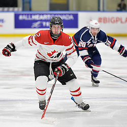 WHITBY, - Dec 18, 2015 -  Game #12 - Bronze Medal Game, Team Canada East vs. United States at the 2015 World Junior A Challenge at the Iroquois Park Recreation Complex, ON. Owen Grant #2 of Team Canada East skates after the puck during the first period.<br /> (Photo: Shawn Muir / OJHL Images)