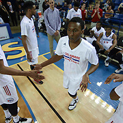 Delaware 87ers Guard Nolan Smith (10) is introduced to the home crowd prior to a NBA D-league regular season basketball game between the Delaware 87ers (76ers) and the Sioux Falls Skyforce (Miami Heat) Tuesday, Dec. 2, 2014 at The Bob Carpenter Sports Convocation Center in Newark, DEL