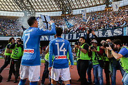 April 8, 2018 - Naples, Italy - Jose Callejon and Dries Mertens of SSC Napoli celebrate the victory after the serie A match between SSC Napoli and AC Chievo Verona at Stadio San Paolo on April 8, 2018 in Naples, Italy. (Credit Image: © Paolo Manzo/NurPhoto via ZUMA Press)