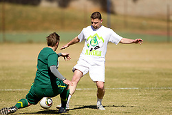 Matjaz Krajnik vs Jernej Suhadolnik during friendly match between Slovenian football journalists and officials of Slovenian football federation at  Hyde Park High School Stadium on June 16, 2010 in Johannesburg, South Africa.  (Photo by Vid Ponikvar / Sportida)