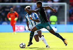 Mario Lemina of Southampton takes on Steve Mounie of Huddersfield Town - Mandatory by-line: Matt McNulty/JMP - 26/08/2017 - FOOTBALL - The John Smith's Stadium - Huddersfield, England - Huddersfield Town v Southampton - Premier League