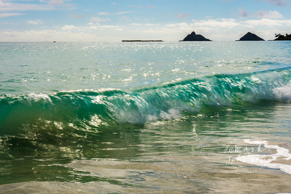 Wave breaking at Kailua beach shorebreak, Kailua Bay, Oahu, Hawaii