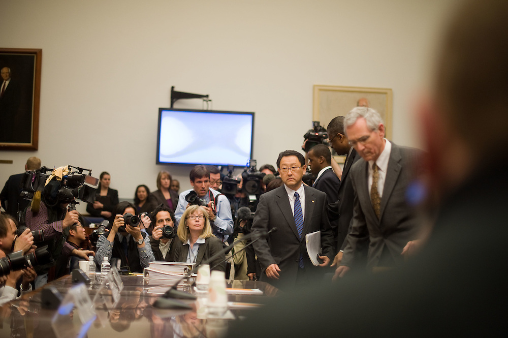 Toyota President and CEO Akio Toyoda enters a House Government Reform Committee hearing on the recent recalls on Toyota vehicles on Wednesday, Feb. 24, 2010 in Washington.