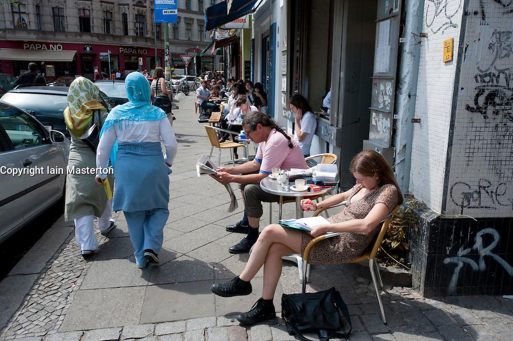 Typical bohemian cafe in multi ethnic Kreuzberg district of Berlin