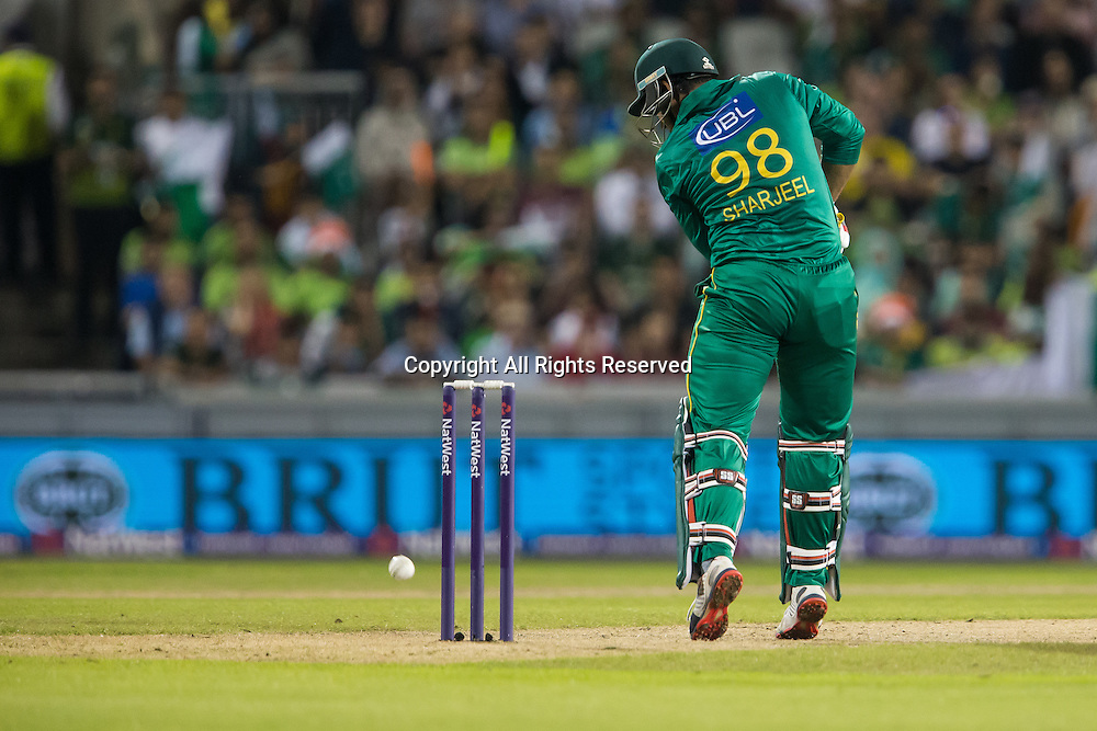 07.09.2016. Old Trafford, Manchester, England. Natwest International T20 Cricket. England Versus Pakistan. Pakistan opening batsman Sharjeel Khan gets enough of the ball to stop the out.