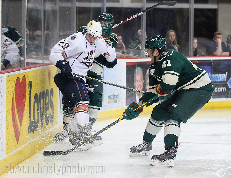 April 17, 2015: The Oklahoma City Barons play the Iowa Wild in an American Hockey League game at the Cox Convention Center in Oklahoma City.