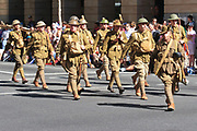 Soldiers in old World War 1 uniforms march during Brisbane ANZAC day 2005 parade <br />