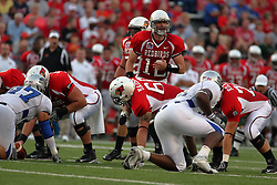 20 September 2008: Kevin Brockway issues an audible during Illinois State Redbirds home opener lose to the #20 ranked Eastern Illinois Panthers at Hancock Stadium on the campus of Illinois State University in Normal Illinois. Final score was 25-21.