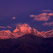 "Mt. Dhaulagiri (""The White Mountain"") - the world's 7th highest peak at 26,794'/8,167m - rises at sunrise as viewed from Pun Hill on the Annapurna Circuit, Nepal."
