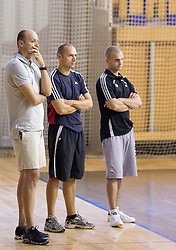 Coach Jure Zdovc, assistant coach Goran Ostojic and Physiotherapist Miha Perko at first practice session of KK Union Olimpija in new season 2010/2011 on August 23, 2010, in Arena Tivoli, Ljubljana, Slovenia.  (Photo by Vid Ponikvar / Sportida)