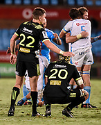 Beauden Barrett, of the Hurricanes  consoles his team mate Blade Thomson, of the Hurricanes after the loss of the 2018 Super Rugby game between the Bulls and the Hurricanes at Loftus Versveld, Pretoria on 24 February 2018.<br /> Copyright photo: Catherine Kotze/BackpagePix / www.photosport.nz