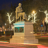 James Clerk Maxwell Statue at night