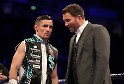 Anthony Crolla (left) with boxing promoter Eddie Hearn before the Final Eliminator WBA Lightweight Championship bout at Manchester Arena.