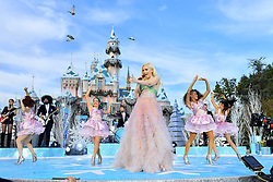 EXCLUSIVE: Gwen Stefani looked fabulous in a custom made princess dress during a special appearance & a performance at Disneyland. The 49 year old singer sang her new Christmas covers for Disney and ABC's pretaped Christmas special which will air on Thanksgiving morning. 15 Nov 2018 Pictured: Gwen Stefani. Photo credit: Ahmad Elatab / MEGA TheMegaAgency.com +1 888 505 6342