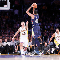07 December 2014: New Orleans Pelicans center Alexis Ajinca (42) takes a jump shot over Los Angeles Lakers center Robert Sacre (50) during the New Orleans Pelicans 104-87 victory over the Los Angeles Lakers, at the Staples Center, Los Angeles, California, USA.