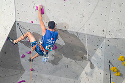 Mathieu Bernard of France competes in Men Res at Paraclimbing Cup at  the International Federation of Sport Climbing (IFSC) World Cup 2017 at Edinburgh International Climbing Arena, Scotland, United Kingdom.