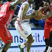 Delaware 87ers Guard DJ Seeley drives towards the lane as Rio Grande Valley Vipers Guard Jarvis Threatt (10) defends in the first half of a NBA D-league regular season basketball game between the Delaware 87ers and the Rio Grande Valley Vipers (Houston Rockets) Saturday, Dec. 27, 2014 at The Bob Carpenter Sports Convocation Center in Newark, DEL