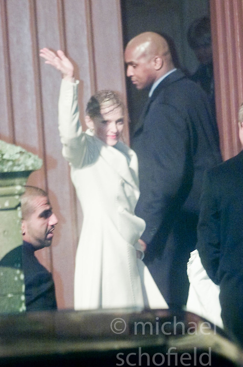 Madonna arriving at the christening of baby Rocco at Dornoch Cathedral in Scotland on the night of 12th December 2000.