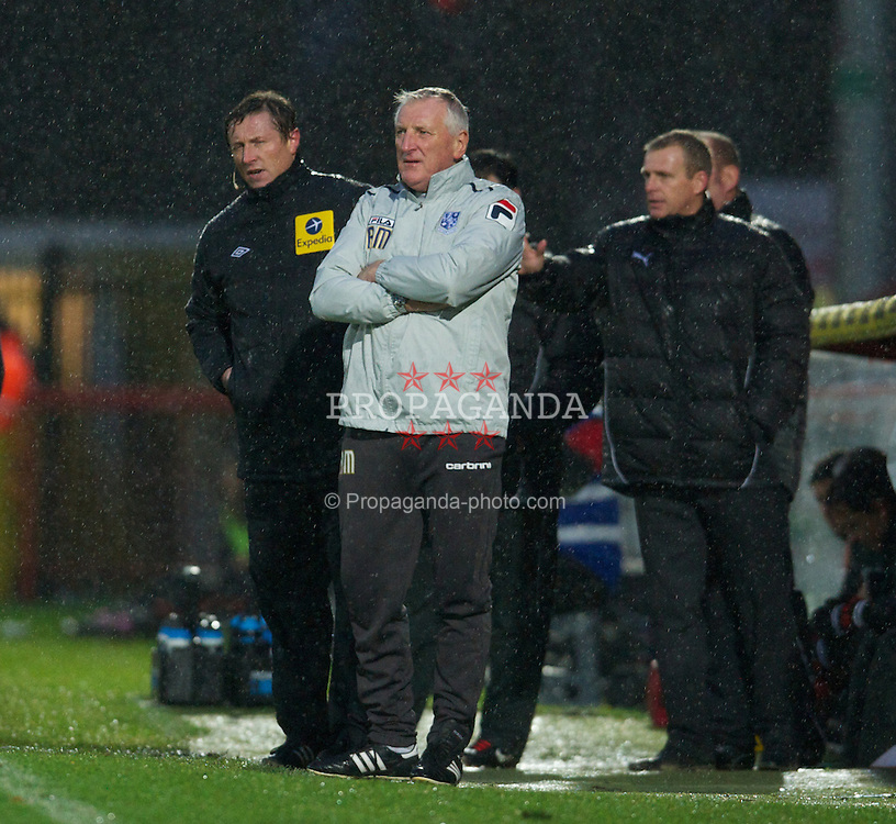 STEVENAGE, ENGLAND - Saturday, November 24, 2012: Tranmere Rovers' manager Ronnie Moore during the Football League One match against Stevenage at Broadhall Way. (Pic by David Rawcliffe/Propaganda)