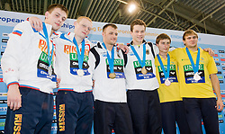 19.05.2012, Pieter van den Hoogenband Swimming Stadium, Eindhoven, NED, LEN, Turmspring Europameisterschaft 2012, Herren Synchonspringen 10m Turm, im Bild Ilya Zakharov and Victor Minibaev (RUS) silver medal, Patrick Hauding and Sascha Klein (GER) gold medal, Oleksandr Bondar and Pleksandr Gorshkovozov (UKR) bronze medal // during Men's 10m platform synchro - preliminary of LEN Diving European Championships at Pieter van den Hoogenband Swimming Stadium, Eindhoven, Netherlands on 2012/05/19. EXPA Pictures © 2012, PhotoCredit: EXPA/ Insidefoto/ Giorgio Perottino..***** ATTENTION - for AUT, SLO, CRO, SRB, SUI and SWE only *****