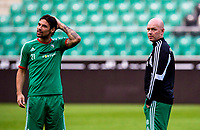29/07/14<br /> LEGIA WARSAW TRAINING<br /> PEPSI ARENA - WARSAW<br /> Legia Warsaw captain Ivica Vrdoljak (left) joins manager Henning Berg at the Pepsi Arena for training