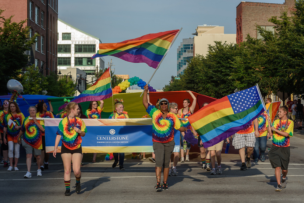 The Lesbian, Gay, Bisexual, Transgender, and Queer (LGBTQ) community and their friends, family and supporters walked and lined Main Street from Floyd Street to the Belvedere for the Kentuckiana Pride Parade, Saturday, June 16, 2017 in Louisville, Ky. (Photo by Brian Bohannon)