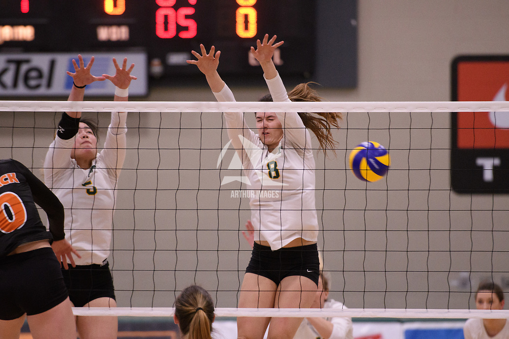 4th year middle blocker Kathleen Ens (8) of the Regina Cougars in action during Women's Volleyball home game on January 12 at Centre for Kinesiology, Health and Sport. Credit: /Arthur Images 2018