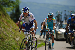 Riders on the top of the Col de la Joux Plane during stage 6 of the Criterium du Dauphine. Photo by Simon Parker/SPactionimages