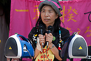 Sachiko Saito from Fukushima speaking at the Women's Protest outside METI (Ministry of Economy, Trade and Industry) in Tokyo, Japan. Friday June 29th 2012. About 400 protesters campaigned the restarting of the Oi nuclear power-station and the policy of Prime-Minister Noda to restart Japan's nuclear power generation programme which has been stalled since the earthquake and tsunami of March 11th 2011 caused meltdown and radiation leaks at the Fukushima Daichi Nuclear power-plant.