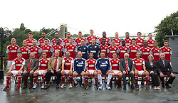 Bristol City line up for their team photo with their vice presidents - Photo mandatory by-line: Kieran McManus/JMP - Tel: Mobile: 07966 386802 31/07/2013 - SPORT - FOOTBALL - Avon Gorge Hotel - Clifton Suspension bridge - Bristol -  Team Photo