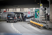 A killed person is carried out to special ambulances from the main entrance to Maelbeek Metro Station in the morning the day after the explosions at Maelbeek Metro station and Brussels Airport in Brussels. Photo: Erik Luntang