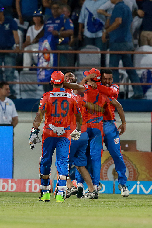 GL team players celebrates for Super Over  during match 35 of the Vivo 2017 Indian Premier League between the Gujarat Lions and the Mumbai Indians  held at the Saurashtra Cricket Association Stadium in Rajkot, India on the 29th April 2017<br /> <br /> Photo by Rahul Gulati - Sportzpics - IPL