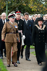Lord Lieutenant for South Yorkshire  David Moody  and The Mayor of Barnsley  Cllr Karen Dyson arrive at the Funeral of Private Matthew Adam Thornton, Territorial Army Soldier with 4th Battalion The Yorkshire Regiment who was killed on the 9th of November 2011 while deployed to Afghanistan with Support Company 1st Battalion the Yorkshire Regiment..Private Thornton was killed just 6 days after his 28th Birthday and 2 days before Armistice Day. .The funeral was held at All Saints Church Darton Barnsley on Tuesday.29 November 2011  Image © Paul David Drabble