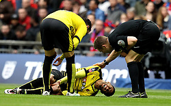 Etienne Capoue of Watford goes down in pain after getting injured - Mandatory by-line: Robbie Stephenson/JMP - 24/04/2016 - FOOTBALL - Wembley Stadium - London, England - Crystal Palace v Watford - The Emirates FA Cup Semi-Final