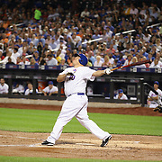 Pitcher Bartolo Colon, New York Mets, batting during the New York Mets Vs Miami Marlins MLB regular season baseball game at Citi Field, Queens, New York. USA. 16th September 2015. Photo Tim Clayton