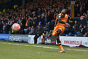 HUll City Forward, Sone Aluko crosses the ball into the box during the The FA Cup fourth round match between Bury and Hull City at Gigg Lane, Bury, England on 30 January 2016. Photo by Mark Pollitt.