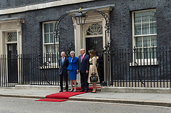 © Licensed to London News Pictures. 04/06/2019. London, UK. US President Donald Trump and First Lady Melania Trump meet with British Prime Minister Theresa May and Phillip May at 10 Downing Street during a state visit. Photo credit: Ray Tang/LNP
