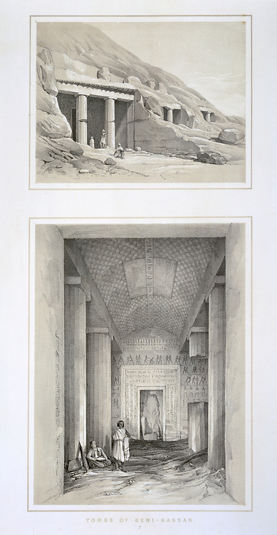 Rock cut tombs at Beni Hasan, Egypt. Top: Tomb entrances. Bottom: Interior of a tomb. Ancient Egyptian burial site used mainly during the Middle Kingdom, 21st-17th centuries BC. Death Burial Lithograph