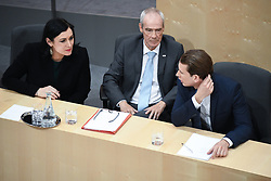 "27.05.2019, Hofburg, Wien, AUT, Sondersitzung des Nationalrates, Sitzung des Nationalrates aufgrund des Misstrauensantrags der Liste JETZT, FPOE und SPOE gegen Bundeskanzler Sebastian Kurz (OeVP) und die Bundesregierung, im Bild v.l. Elisabeth Köstinger (ÖVP), Innenminister Eckart Ratz, Sebastian Kurz (ÖVP) // during special meeting of the National Council of austria due to the topic ""motion of censure against the federal chancellor Sebastian Kurz (OeVP) and the federal government"" at the Hofburg in Wien, Austria on 2019/05/27. EXPA Pictures © 2019, PhotoCredit: EXPA/ Lukas Huter"