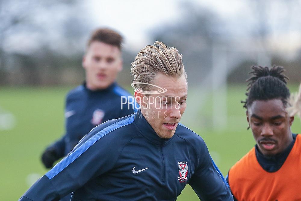 York City midfielder, on loan from Gillingham, Danny Galbraith  York City FC Training Session at Bootham Crescent, York, England on 27 November 2015. Photo by Simon Davies.
