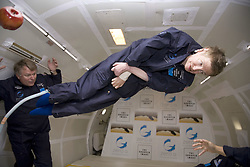 Physicist Stephen Hawking experiences a very weight moment during a flight on Zero Gravity jet, near Florida on April 26, 2007. Photo by Zero G via Balkis Press/ABACAPRESS.COM  | 121247_02 Orlando