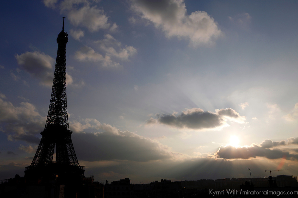 Europe, France, Paris. Eiffel Tower against a dramatic sky.